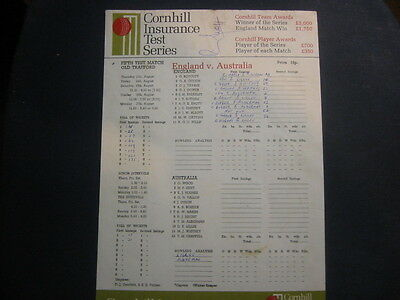 England V Australia Scorecard August 1981 Old Trafford Signed Paul Allott Debut
