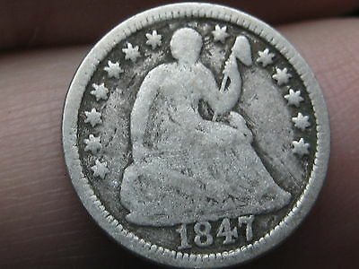 1847 Seated Liberty Half Dime- VG/Very Good Details