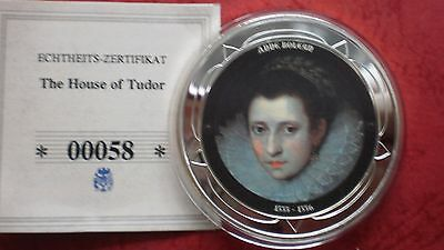 "Silbermedaille THE HOUSE of TUDOOR  ""Anne Boleyen"" mit Farbe - in PP !"