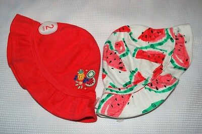 New & Tagged NEXT 2 Pack Baby Girl's Pink Cotton Sun Hat Bonnets Age 3-6 Months