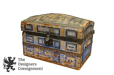 Primitive 19th C Dome Top Victorian Trunk Jewelry Chest Salesman Sample Steamer