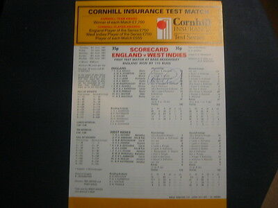 Complete Scorecard England V West Indies Leeds 1991 Signed Graham Gooch  154 No