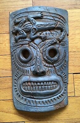 Vintage Mexican Clay Tiki Mask Wall Plaque