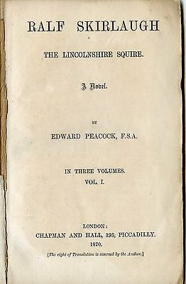 Ralf Skirlaugh The Lincolnshire Squire A Novel By Edward Peacock  1870 3 Volumes
