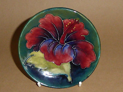 Moorcroft Hibiscus Small Plate , Pin Tray  Green , Art Deco Pottery