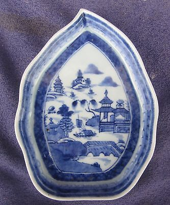 Antique Chinese Export Blue & White Canton Nanking Leaf Dish circa 1820-40