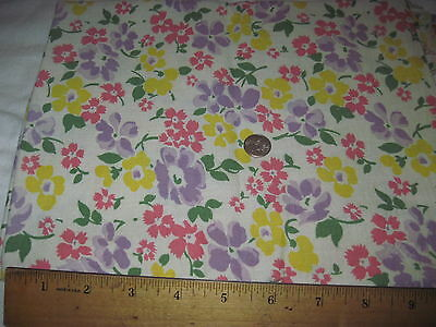Vintage Full Authentic Feedsack Yellow, Purple & Pink Floral Design