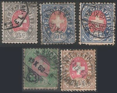 Switzerland - Five Different Value Telegraph Stamps - Good/fine Used