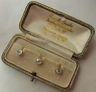 Antique Edwardian Platinum, 18Ct Gold & Mother Of Pearl Dress Studs