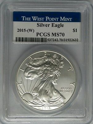PCGS MS70 2015 (W) American SILVER EAGLE $1 Dollar Coin 1oz WEST POINT MINT USA