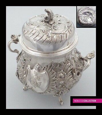 STUNNING ANTIQUE 1880s FRENCH FULL STERLING SILVER Minerva SUGAR BOWL Rococo st.