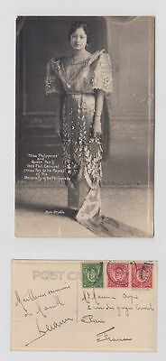 Southeast Asia Old Postcard Miss Philippines And Queen Manila To Paris 1929 !!
