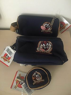***RARE*** TAZ BUMBAG/PENCIL CASE & COIN HOLDER ALL MATCHING (nwt)