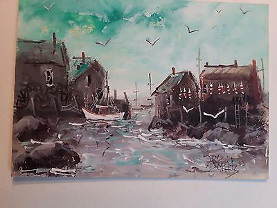 Low Tide 5x7 in. seascape nautical print  original art  Jim Smeltz w/ ACEO