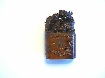 Vintage Chinese Stone Seal With Magnificently Carved Dragon