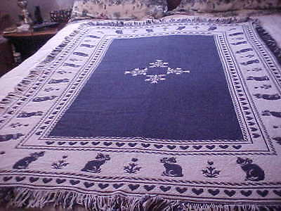 "Vintage Cat Cotton Reversable Tapestry Afghan Throw Blanket 40"" x 60"""