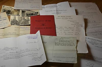 Regular Army Certificate Of Service Red Book Plus Supporting Documents - 1939