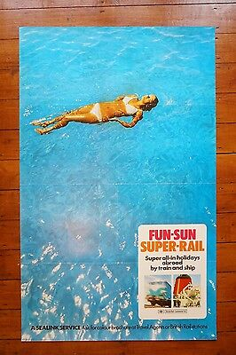 1969 Sealink Fun Sun Super Rail Original Railway Travel Poster