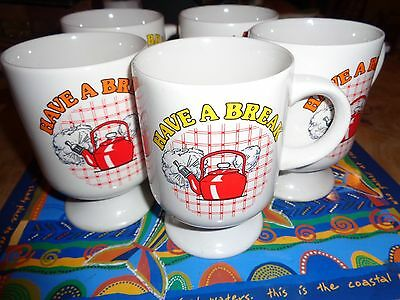 Vintage Retro Kitsch 80's Have A Break X 5  Footed Mugs