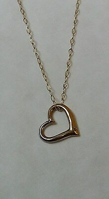 9Ct Yellow Gold Heart with Diamond , Pendant & Chain Hallmarked 375 Very Dainty