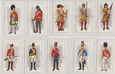 25 tea cards of Regimental uniforms of the past - attractive - some toning