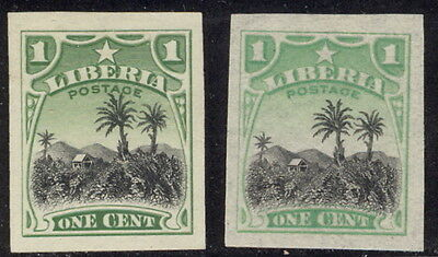 Liberia 1909, 1c coffee plantation IMPERF, regular and official color #115