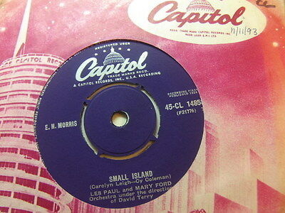 "Les Paul and Mary Ford – Small Island 1958 7"" Capitol CL 14858"