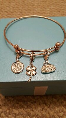 925 Sterling Silver with Rose Gold finish Charm Bangle  (NEW)