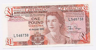 1988 Gibraltar $1 Pound Note Uncirculated