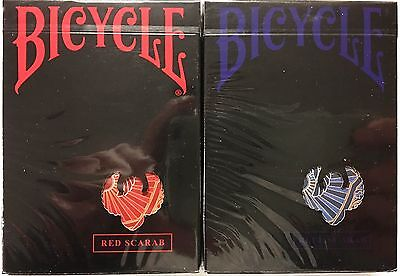 Scarab 2 Deck Set Red Blue Bicycle Playing Cards Poker Size USPCC Custom Limited