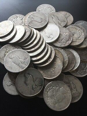 20 Peace Silver Dollars.  AG. With Dates/No Holes. Survival Silver