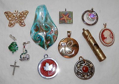 Lot of 12 Pendants Charms for Necklaces Bracelets Glass Whistle Butterfly Cameo