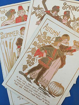 4 Antique Victorian TRADE CARD Seasons Advertising Candee Rubber Boots