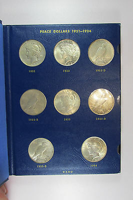 1921-1935 Complete Peace Dollar Set Silver Dollars in Blue Whitman Album