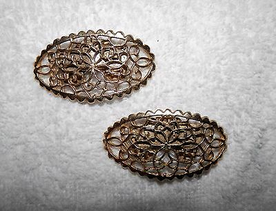 Vintage Musi Gold Tone Antique Filagree Style Shoe Clips