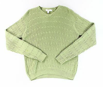 Calvin Klein NEW Green Mens Size Medium M Cable-Knit V-Neck Sweater $69- #062