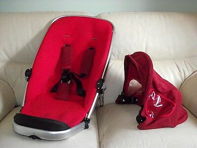 Quinny Buzz Red Seat Unit inc Hood & Strap Pads