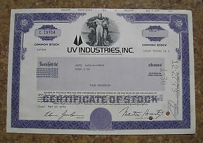 UV Industries Common Stock Share Certificate Incorporated in The State of Maine