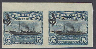 Liberia 1909, 5c ship official, IMPERFORATE PAIR #O61