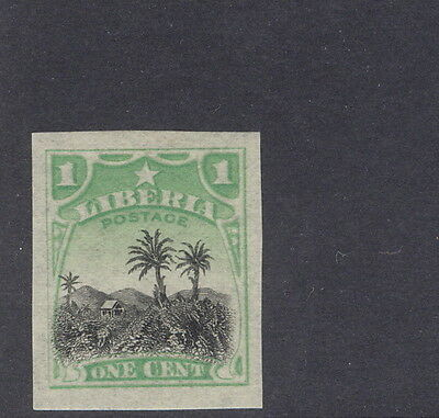 "Liberia 1909, 1c Coffee plantation official, IMPERFORATE no ""OS"", #O59"