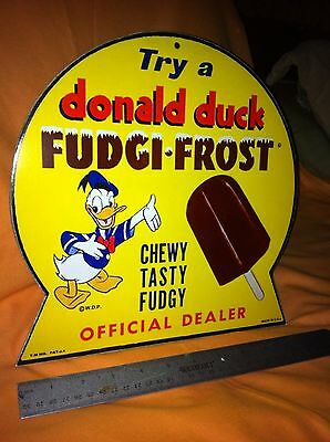LOT OF Two Donald Duck FUDGI-FROST ice cream bar Standee store display