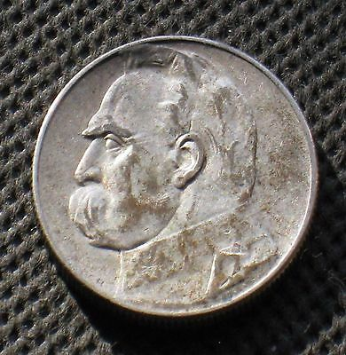 OLD SILVER COIN OF POLAND 5 ZLOTY 1934 JOZEF PILSUDSKI SECOND REPUBLIC Ag