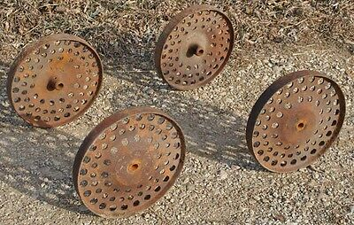 Vintage Tall Cast Iron Wheels Hit & Miss Gas Engine Steam Punk Industrial Cart