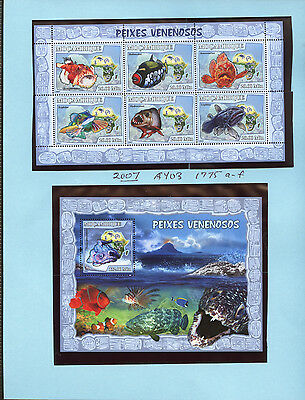 Mozambique 1775, 1795 mint NH mini sheet & souvenir sheet FISH SCV $19.65