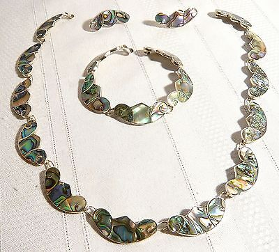 Signed  STERLING SILVER & ABALONE MEXICO NECKLACE BRACELET EARRINGS SET   L.S