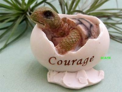 HATCHING SEA TURTLE EGG COURAGE Adorable Fairy Garden Resin Hand Painted Top Col