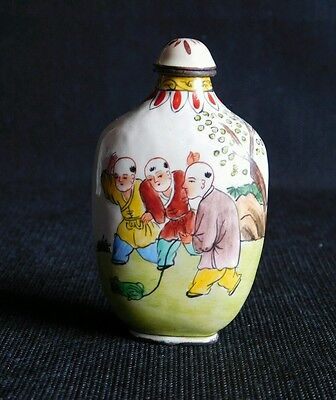 Chinese Hand Painted Enamel Over Brass  Snuff Bottle
