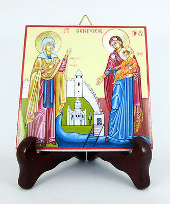 Saint Genevieve Patroness of Paris Ceramic Tile HQ Made in Italy St. Holy M1 X