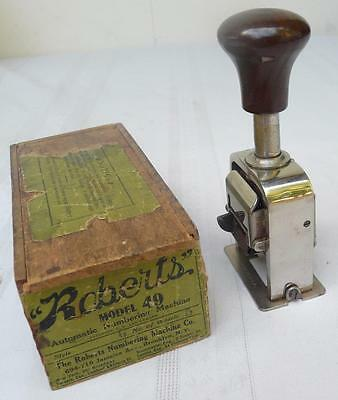Vintage ROBERTS Model 49 Auto Numbering Machine in Original Box Made USA