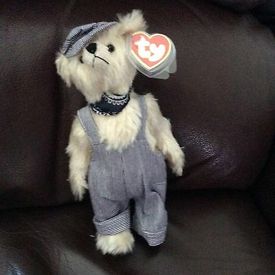 """TY ATTIC TREASURE BEAR, """"Caboose"""" & Outfit, Retired Rare Bear, Tag & protector."""